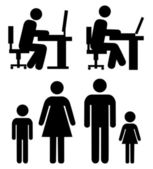 At work family - vector pictograms Simple black silhouettes isolated on a white background