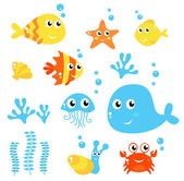 Exotic fishes and Sea animals big collection Vector cartoon Illustration