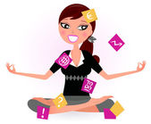 Busy woman with notes trying to relax in yoga position Vector retro Illustration