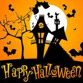 Vector cute Halloween night illustration