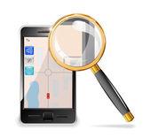 Mobilní telefon a zvětšovací sklo