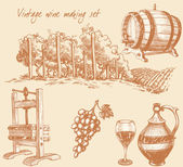 Ročníkového vína a vína, sada