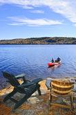 Canoeing on lake