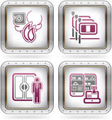 Various camping icons: Fire Alarm Italian-speaking staff available Porter Service Store / Mini Supermarket (part of the 2 Colors Chrome Icons Set)