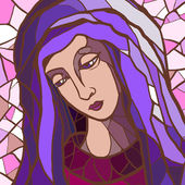 Vector illustration of Virgin Mary in stained glass