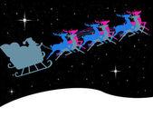 Santa claus v saních s jasná hvězda na obloze půlnoční