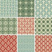Set of nine vintage seamless christmas wallpapers