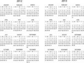 Vector pack of full editable calendar for 2012 and 2013 - weeks starts sunday