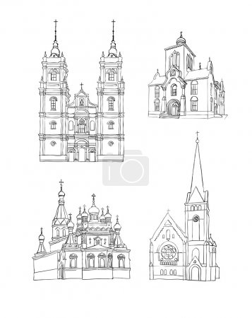 Постер, плакат: A set of sketches of churches, холст на подрамнике