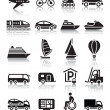 thumbnail of Set of simple transport icons with reflection