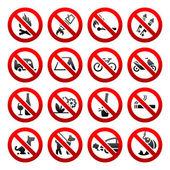 Set ban icons Prohibited signs Nature symbols