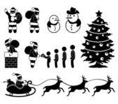 Un set di pittogramma su Natale e Babbo Natale