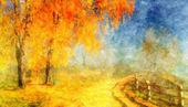Picture oil paints on a canvas, landscape: autumn wood