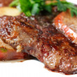 Постер, плакат: Veal liver with apples and greens