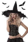 Egy gyönyörű boszorkány szexi portréja