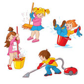 Children busy cleaning up apartments