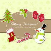 Gyönyörű karácsonyi üdvözlőlap-karácsony harisnya, játékok holly bogyók, candy cane