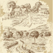 thumbnail of Village houses sketch with food