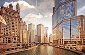 Skyline di Chicago al tramonto
