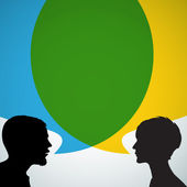 Abstract speakers silhouettes with big blue and yellow bubble (chat dialogue talk or discussion)