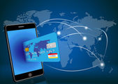 Vector smart phone with credit card on global network background