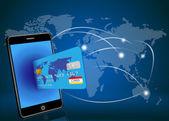 Vektorové chytrý telefon s kreditní kartou na pozadí globální sítě