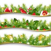 3 Christmas Garlands Vector Illustration