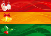 Vector set of christmas banners with handbells baubles and holly decoration