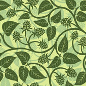 Raspberry with leaf silhouette seamless background pattern