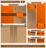 Coffee Shop Business Template Set 01 Vector Illustration