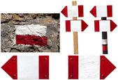 červené a bílé ukazatele