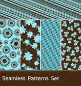 A set of 5 colorful seamless patterns
