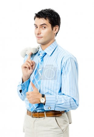 Happy businessman showing thumbs up gesture, isolated