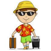 Kreslený dovolenou oblečení muž s taškou