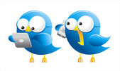 Isolated twitter birds with gadgets
