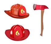 Vector of fireman helmet and axe