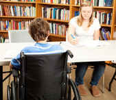 Disabled Student in Library