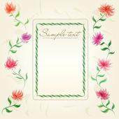 Vintage floral frame with cute chrysanthemums on old paper
