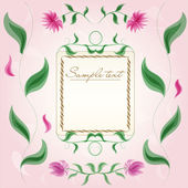Vintage floral frame with cute chrysanthemums and leaves on pink background and old paper