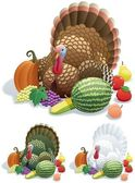 Thanksgiving turkey in 3 versions No transparency used Basic (linear) gradients