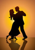 A silhouette illustration of a couple dancing