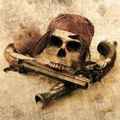 Pirátská lebka beach grunge