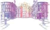 The buildings - old and new - are at the city street in a pastel shades It's the hand-drown colored sketch
