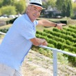 thumbnail of Man on holiday pointing at vineyard