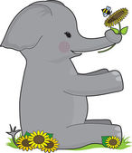 An elephant sitting holding a sunflower He is in the shape of the E
