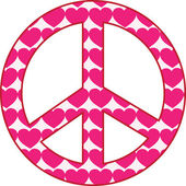 A peace sign filled with pink hearts