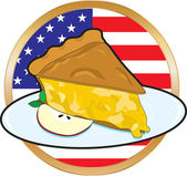 A juicy piece of apple pie with the American Flag in the background