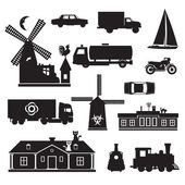 Vector silhouette clip art of transportation and other Black icons of various objects