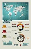 Nastavit prvky infografiky. Světová mapa a informační grafika