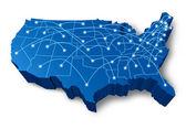 3d mapa komunikační síť v USA